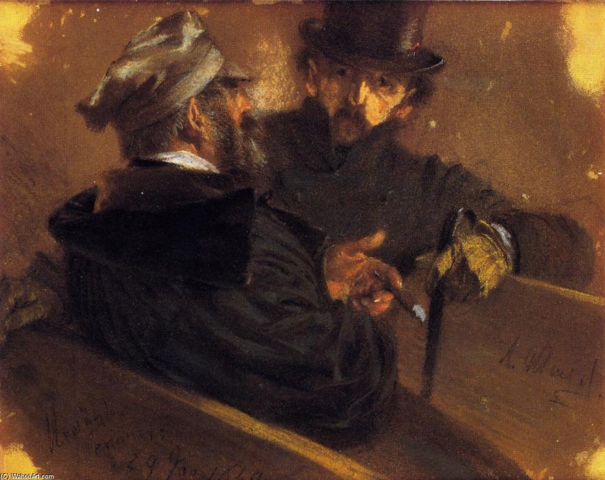 Conversation between Two Voters, Drawing by Adolph Menzel (1815-1905, Poland)