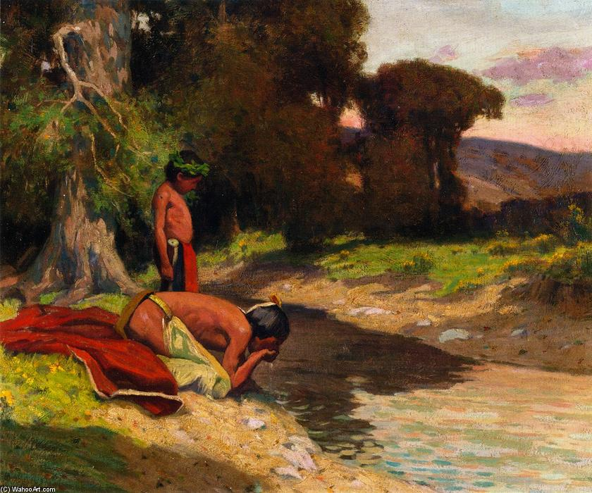 The Cooling Stream, 1912 by Eanger Irving Couse (1866-1936, United States) | Museum Art Reproductions | ArtsDot.com