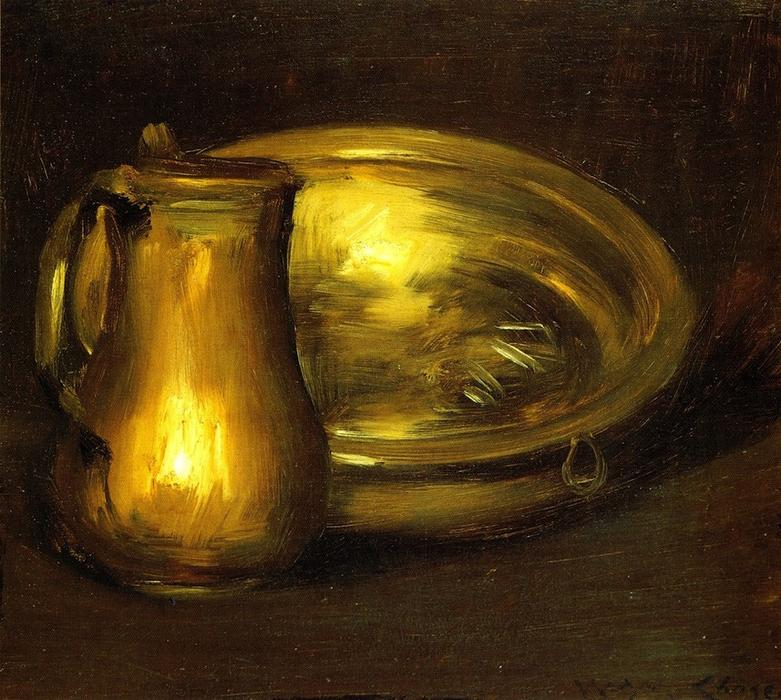 Copper Pitcher and Brass Bowl, Oil On Canvas by William Merritt Chase (1849-1916, United States)