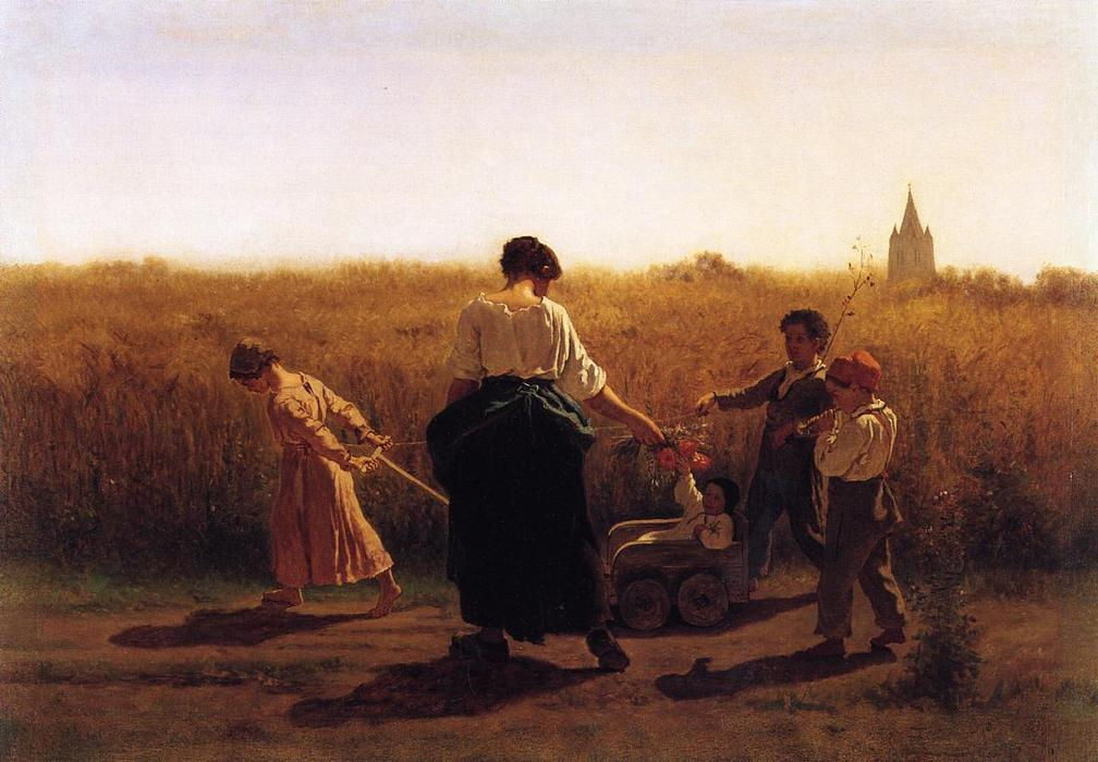 Copy after Jules Breton`s `Le Depart les Champs`, 1865 by Jonathan Eastman Johnson (1824-1906, United Kingdom) | Art Reproduction | ArtsDot.com