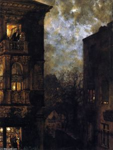 Adolph Menzel - Corner of a House in the Moonlight