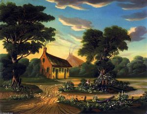 Thomas Chambers - Cottages in a Landscape (also ..