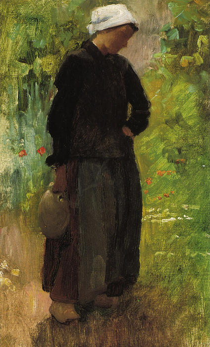 A Country Woman, Oil On Canvas by Cecilia Beaux (1855-1942, United States)