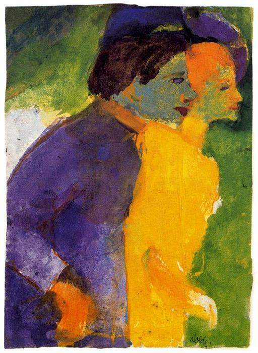 Couple, Yellow and Violet by Emile Nolde (1867-1956, Germany)