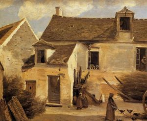 Jean Baptiste Camille Corot - Courtyard of a Bakery near Paris
