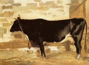 Jean Baptiste Camille Corot - Cow in a Stable (also known as The Black Cow)