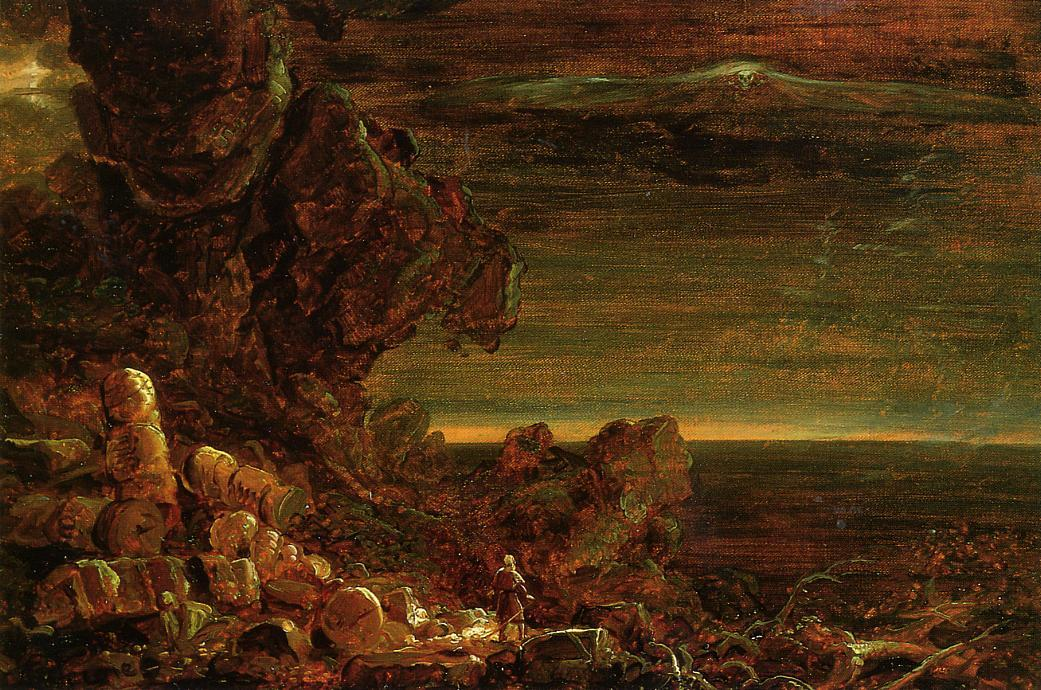 The Cross and the World: Study for 'The Pilgrim of the World at the End of His Journey', Oil On Canvas by Thomas Cole (1801-1848, United Kingdom)
