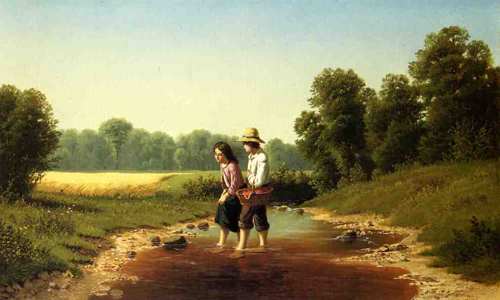 Crossing the Stream, Oil On Canvas by Samuel S Carr (1837-1908, United Kingdom)