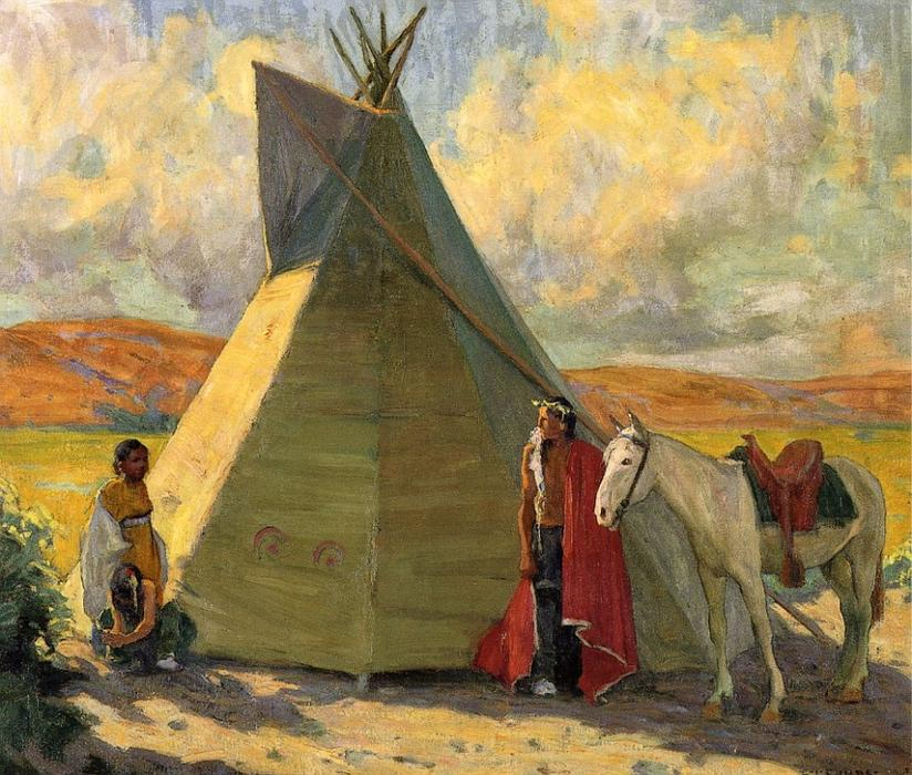 Crow Tent, Oil On Canvas by Eanger Irving Couse (1866-1936, United States)
