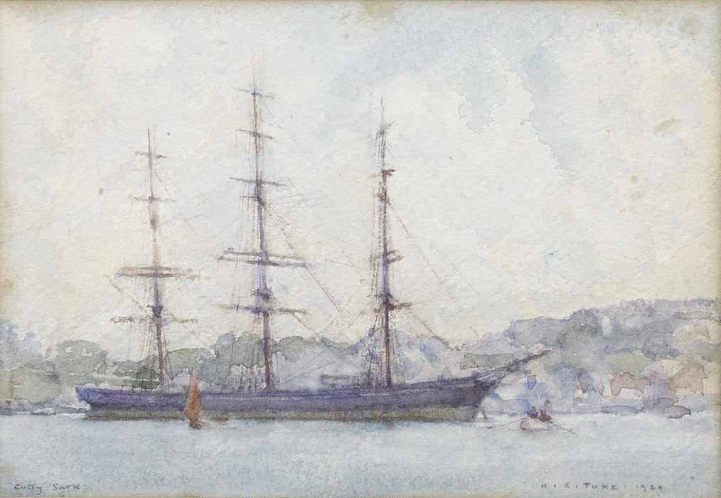 The Cutty Sark moored in Falmouth harbour, 1924 by Henry Scott Tuke (1858-1929, United Kingdom) | Museum Art Reproductions Henry Scott Tuke | ArtsDot.com