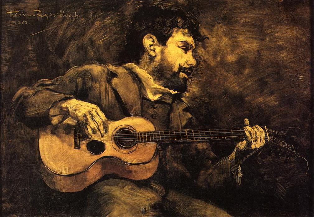 Dario de Regoyos Playing the Guitar, Oil On Panel by Theo Van Rysselberghe (1862-1926, Belgium)