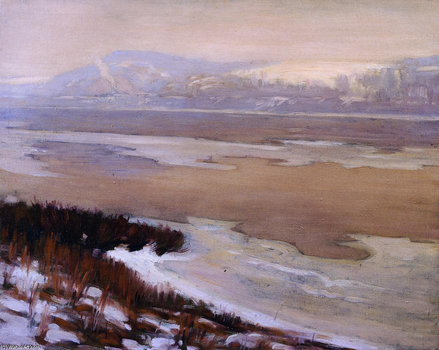 The Delaware Thawing, Oil On Canvas by Charles Rosen