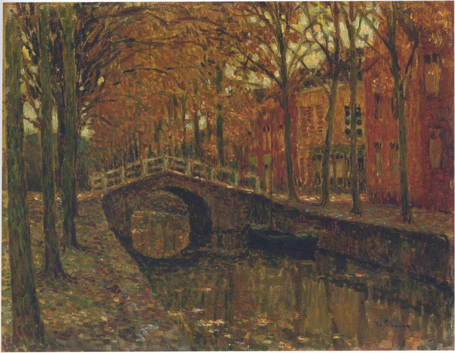 The Delft Canal, Oil On Canvas by Henri Eugène Augustin Le Sidaner (1862-1939, Mauritius)