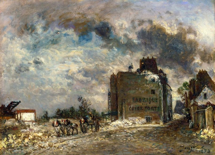 Demolition of the Rue des Francs-Bourgeois, Oil On Canvas by Johan Barthold Jongkind (1819-1891, Netherlands)