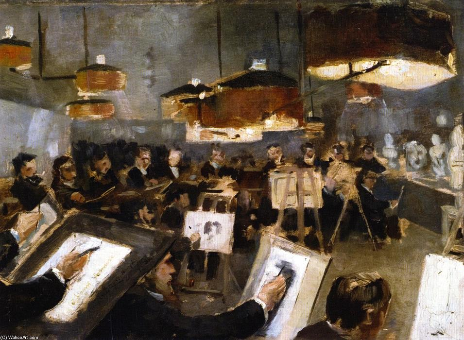 Drawing Class at the Academy, Oil On Panel by Theo Van Rysselberghe (1862-1926, Belgium)