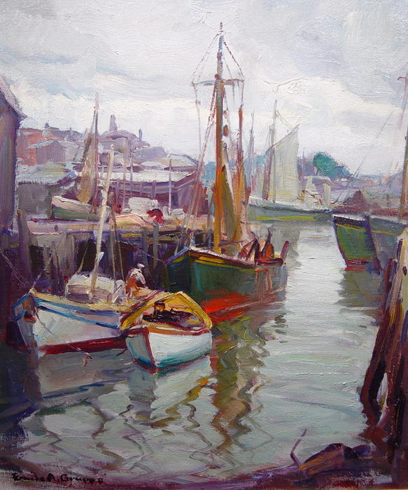 Drying the Sails, Gloucester by Emile Albert Gruppé (1896-1978, United States) | ArtsDot.com