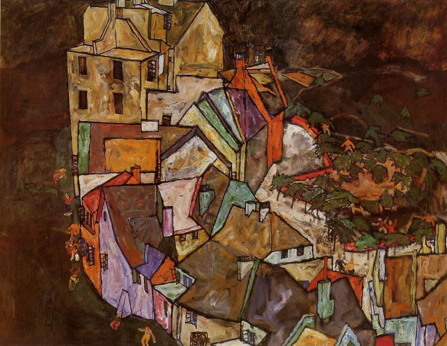 Edge of Town (also known as Krumau Town Crescent III), 1918 by Egon Schiele (1890-1918, Croatia) | Painting Copy | ArtsDot.com