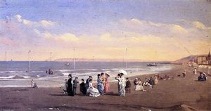 Conrad Wise Chapman - Elegant Figures on a Seashore