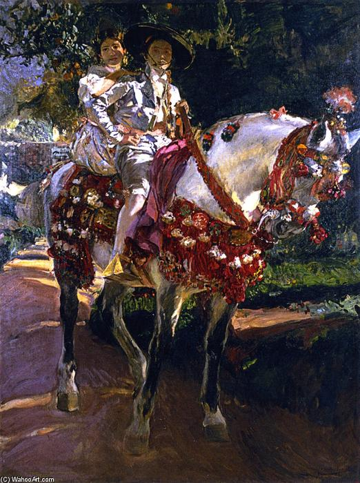 Elena and Maria, the Painter's Daughters, on Horseback in Valencian Period Costumes, Oil On Canvas by Joaquin Sorolla Y Bastida (1863-1923, Spain)
