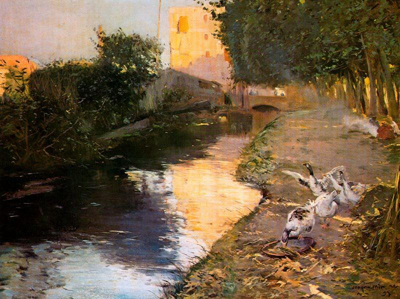 El rio, Oil On Canvas by Joaquin Mir Trinxet (1873-1940, Spain)