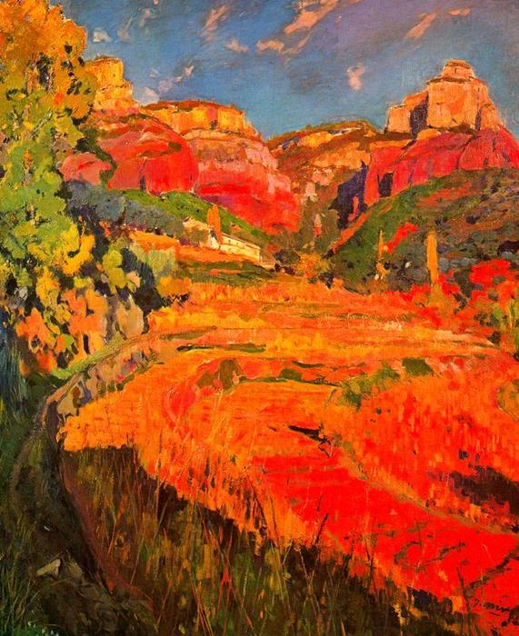 El valle rojo by Joaquin Mir Trinxet (1873-1940, Spain)