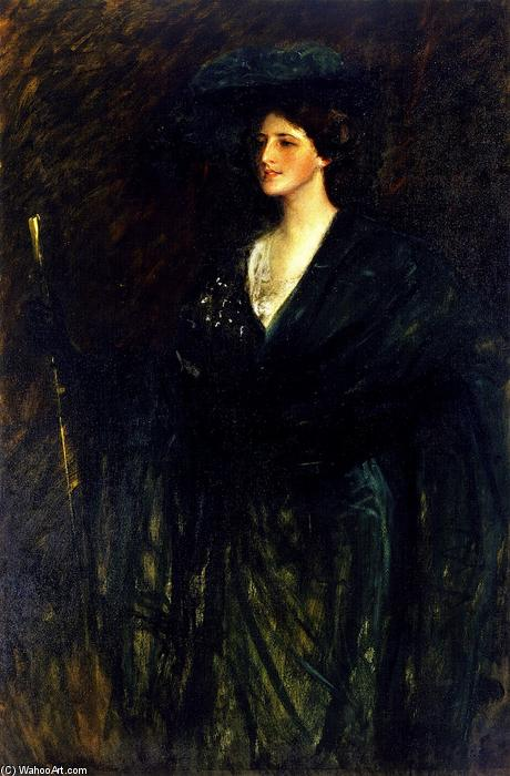 The Emerald Lady, Oil On Canvas by William Merritt Chase (1849-1916, United States)