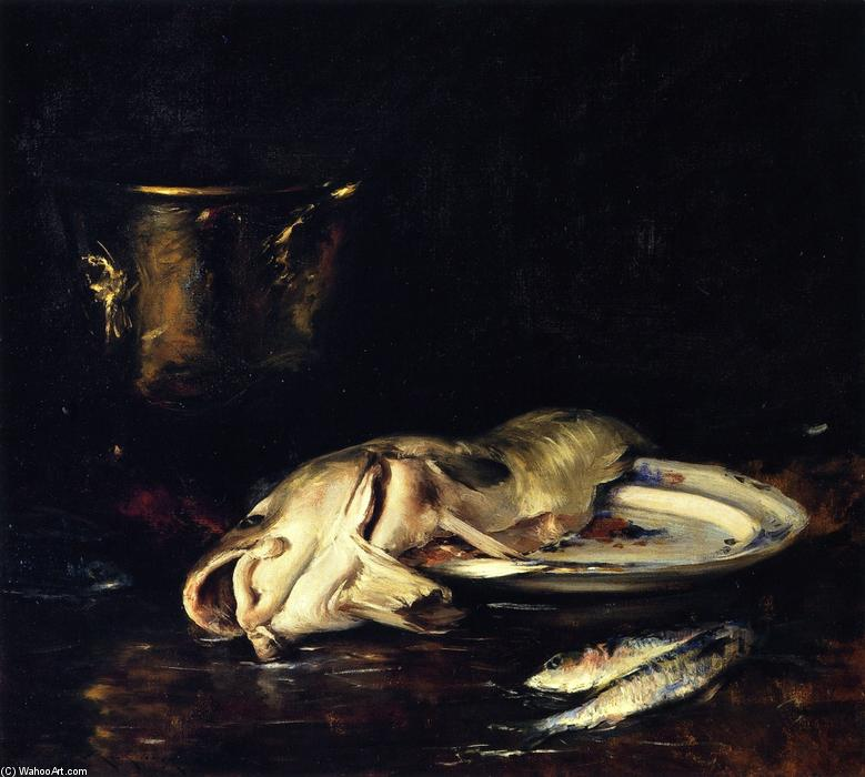 An English Cod, Oil On Canvas by William Merritt Chase (1849-1916, United States)