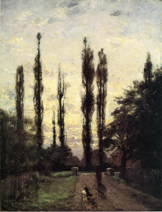 Evening, Poplars, 1885 by Theodore Clement Steele (1847-1926, United States) | Oil Painting | ArtsDot.com
