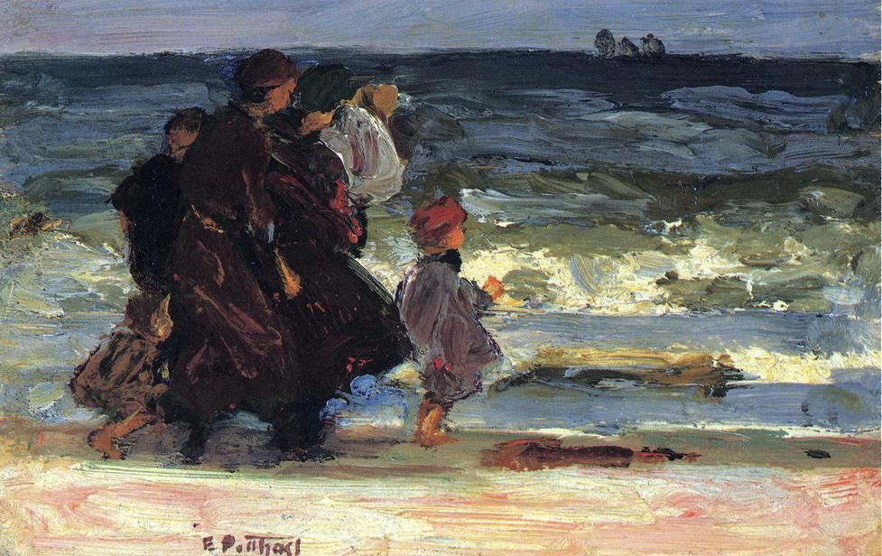 A Family at the Beach by Edward Henry Potthast (1857-1927, United States) | Museum Quality Copies Edward Henry Potthast | ArtsDot.com
