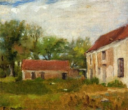 Farm at Rebais (Seine-et-Marne), Oil On Canvas by Eva Gonzales (1849-1883, France)