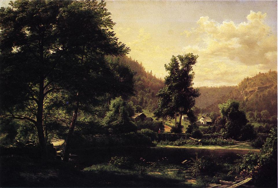 Farm at Scalp Level, Oil On Canvas by George Hetzel (1826-1899, France)