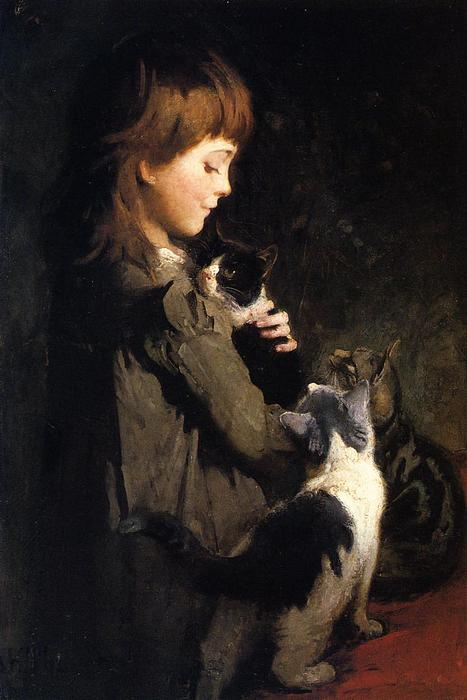 The Favorite Kitten, Oil On Canvas by Abbott Handerson Thayer (1849-1921, United States)