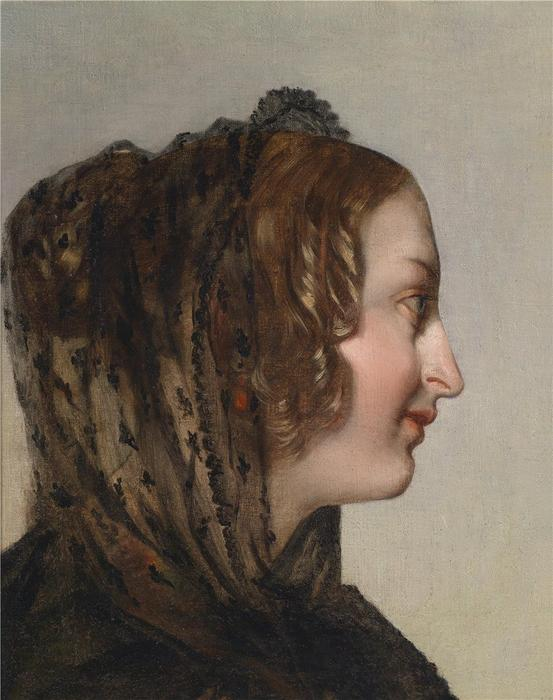 Female Head in Profile with Black Veil, Oil On Canvas by Friedrich Ritter Von Amerling (1803-1887)
