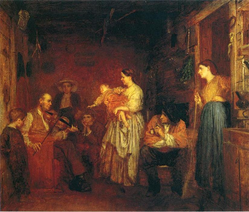 Fiddling His Way, 1866 by Jonathan Eastman Johnson (1824-1906, United Kingdom) | ArtsDot.com