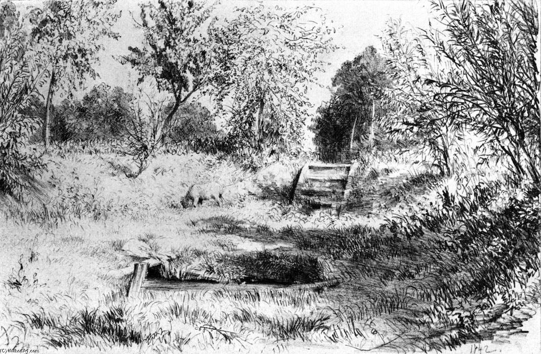 Fields, Trees and Sheep Grazing, Pencil by Adolph Menzel (1815-1905, Poland)