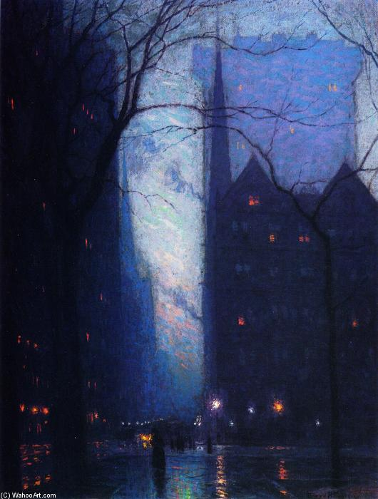 Fifth Avenue at Twilight, Oil On Canvas by Lowell Birge Harrison (1854-1929, United States)
