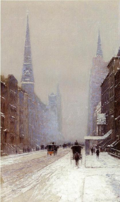 Fifth Avenue in Winter, Oil On Canvas by Lowell Birge Harrison (1854-1929, United States)