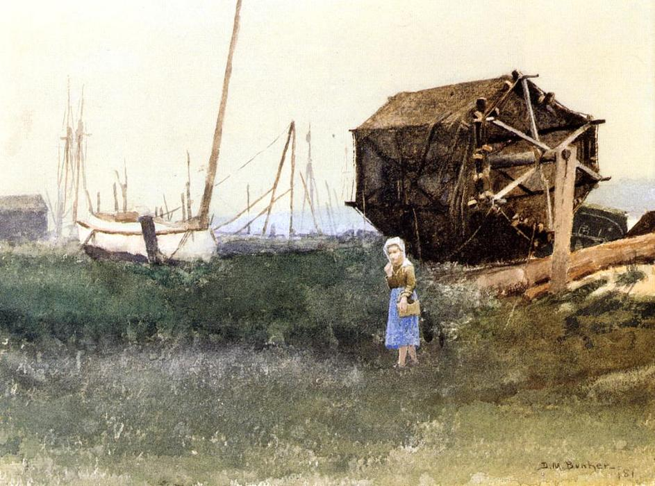 The Fisher Girl, Nantucket, Watercolour by Dennis Miller Bunker (1861-1890, United States)