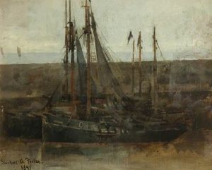 Stanhope Alexander Forbes - Fishing Boats - Sketch