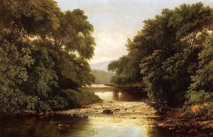 William Mason Brown - Fishing by a River
