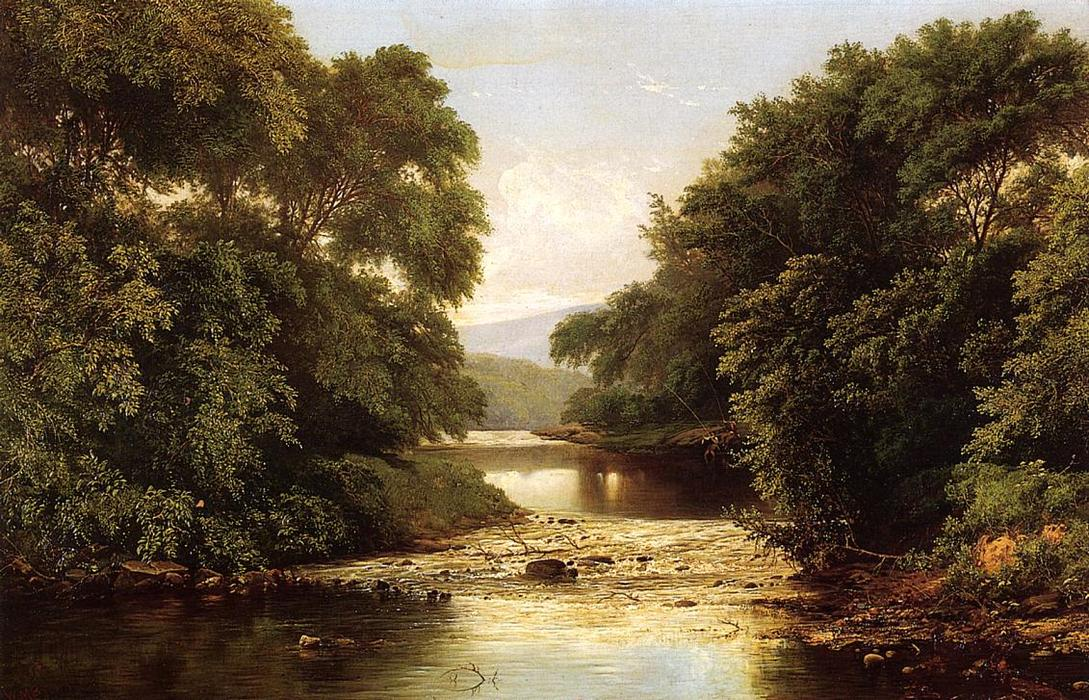Fishing by a River, Oil On Canvas by William Mason Brown (1828-1898, United States)