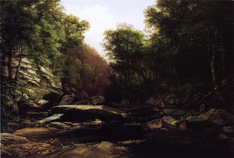 Fishing Near Shade Run Furnace, Oil On Canvas by George Hetzel (1826-1899, France)