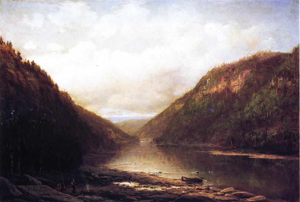 Fishing on the Conemaugh, Oil On Canvas by George Hetzel (1826-1899, France)