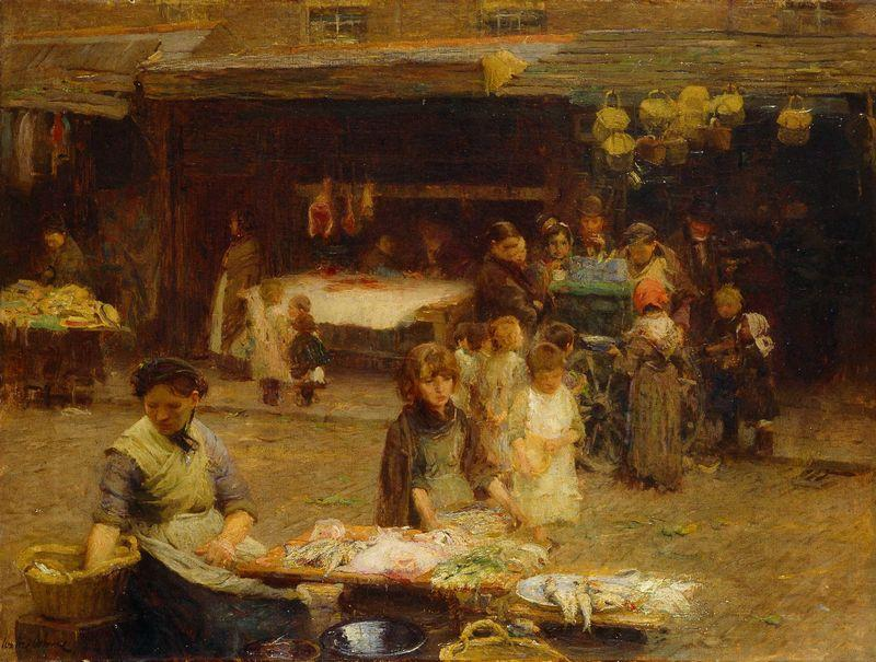 The Fishmarket, Patrick Street, 1893 by Walter Frederick Osborne (1859-1903, Ireland) | Museum Quality Reproductions | ArtsDot.com
