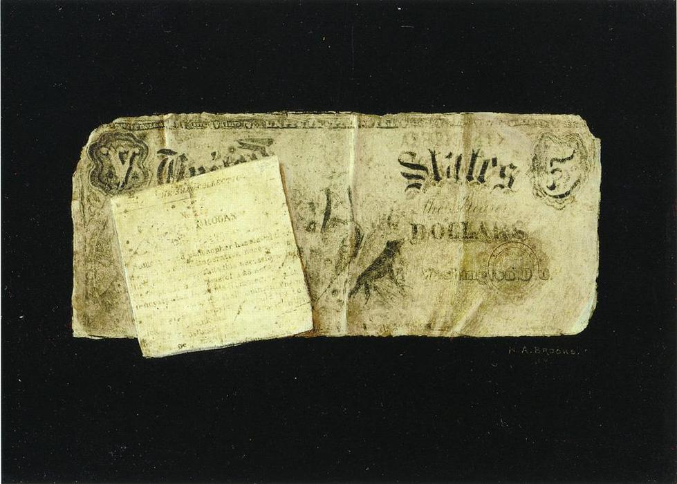 Five Dollar Bill and Clipping by Nicholas Alden Brooks (1840-1904, United States) | Painting Copy | ArtsDot.com