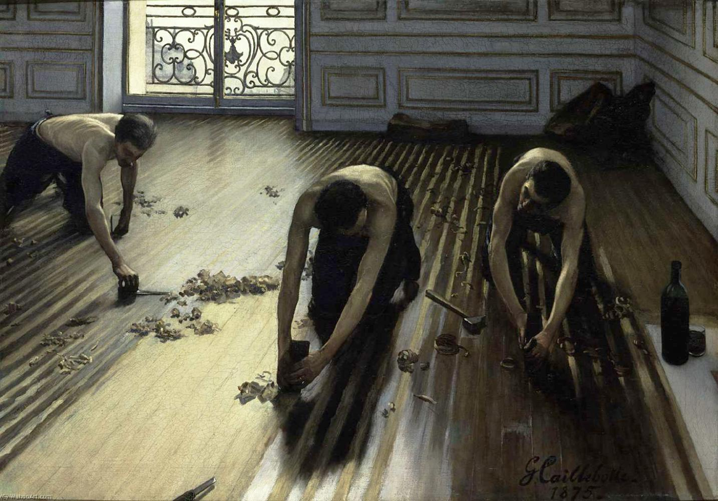 The Floor Scrapers (also known as The Floor Strippers), 1875 by Gustave Caillebotte (1848-1894, France) | Paintings Reproductions Gustave Caillebotte | ArtsDot.com