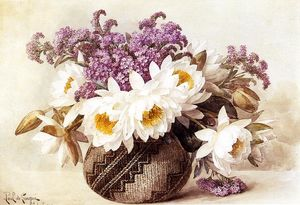 Paul De Longpre - Flowers in an Indian Basket
