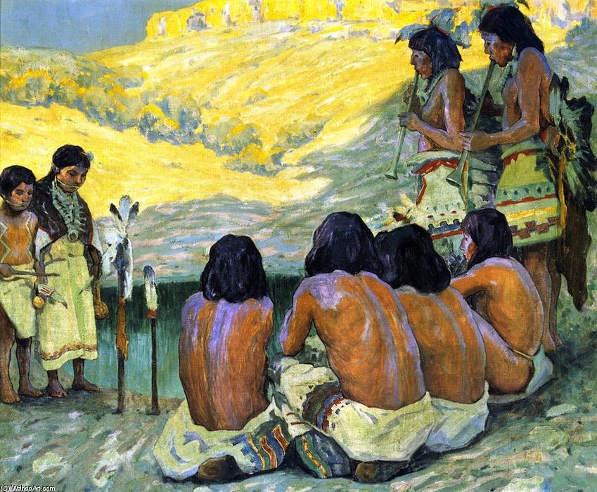 The Flute Ceremony, Oil On Canvas by Eanger Irving Couse (1866-1936, United States)