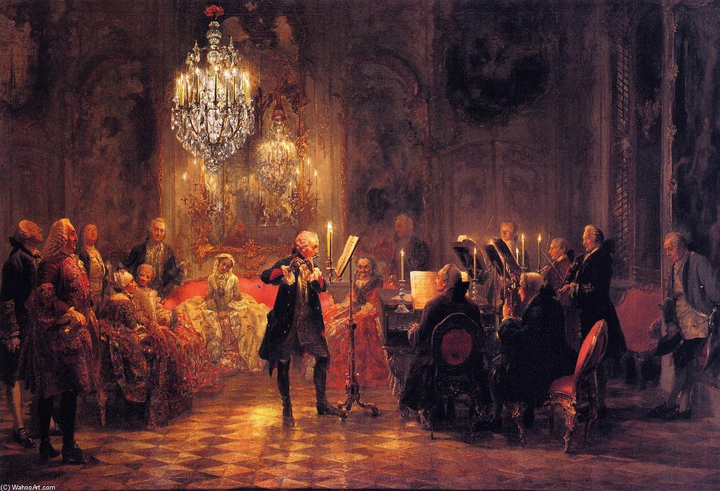The Flute Concert of Frederick the Great at Sanssouci, Oil On Canvas by Adolph Menzel (1815-1905, Poland)