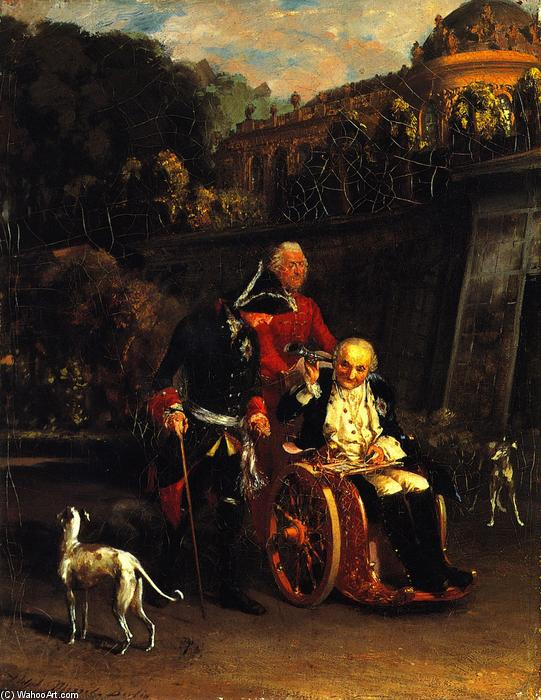 Frederick the Great and General Fouqué, Oil On Canvas by Adolph Menzel (1815-1905, Poland)